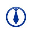 circular business employee tie blue icon symbol vector image vector image
