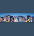 city building houses night view skyline background vector image
