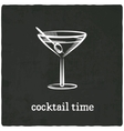 cocktail black old background vector image vector image