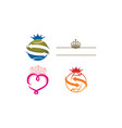 crown icon template set vector image vector image