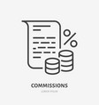deposit interest flat line icon credit loan vector image vector image
