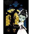 Fashion Zombie Girl near Window vector image