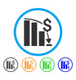 financial crisis rounded icon vector image vector image