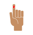 finger with blood drop on white background vector image