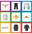 flat clothes set of lingerie uniform pants and vector image