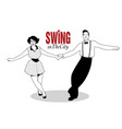 funny couple dancing swing rock or lindy hop vector image vector image