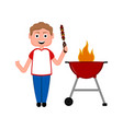 man preparing a skewer on a barbecue grill vector image vector image