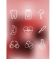 Medical icons in outline style vector image vector image