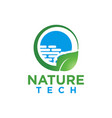 nature leaf and tech logo design template vector image vector image