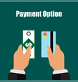 payment option by credit card or money vector image
