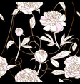 peony and copper thread seamless pattern black vector image