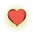 Red heart comics icon vector image vector image