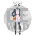 retro hipster fashion animal deer woman model vector image