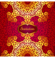 Rich gold invitation card in the Indian style vector image vector image