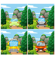 Scenes with different cars on the road vector image vector image