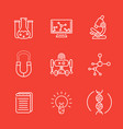 science line icons research study laboratory vector image vector image