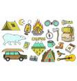 set cute camping elements equipment in forest vector image vector image