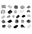 set of black paint grunge brush strokes vector image