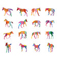 set of colorful silhouettes of foals vector image vector image