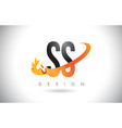 ss s s letter logo with fire flames design and vector image vector image