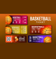 stylish design basketball game tickets set vector image vector image