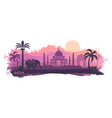 stylized landscape of india with the taj mahal vector image vector image