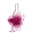 wine bottle and grape splash vector image vector image