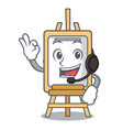 with headphone easel mascot cartoon style vector image