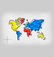 world map low poly art doodle concept vector image vector image