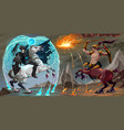 xafighting scene between dark elf and centaur vector image vector image