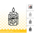 xmas candle flame simple black line icon vector image vector image