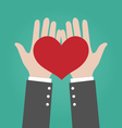 Businessman Hands Giving Red Heart Love Concept vector image