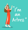 actress character on green background flat design vector image vector image