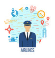 airlines travel concept icons set with pilot vector image