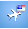 airplane with usa bubble speech background Eps10 vector image