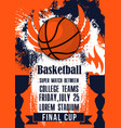 basketball college teams sport cup match poster vector image vector image