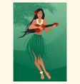 beautiful and smiling hawaiian girl wearing skirt vector image vector image