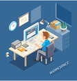 Business Work Space Isometric Flat Style vector image vector image