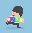 Businessman trying to manage risk block vector image vector image