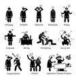 busy and unhappy doctor stick figure pictogram vector image