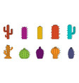 cactus icon set color outline style vector image vector image