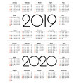 calendar 2019 and 2020 year vector image vector image