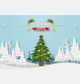christmas tree with decoration in forest vector image vector image