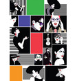 collage of fashionable girls in style pop art vector image vector image