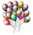 colorful easter eggs shape balloons flying vector image vector image