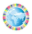 community people joined around globe vector image