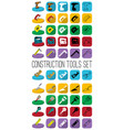 construction tools set in different style outline vector image vector image