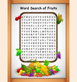 crossword puzzles word find fruit for kids games vector image