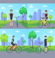 cyclist and bike at city set vector image vector image