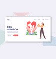 dog adoption landing page template female vector image vector image